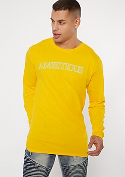 Yellow Ambitious Long Sleeve Graphic Tee