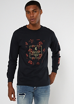 Black MMXIX Rose Print Sweatshirt