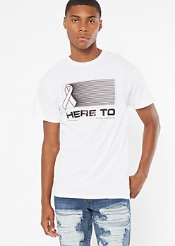 White Striped Here To Fight Graphic Tee