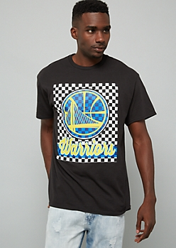 NBA Golden State Warriors Black Checkered Print Graphic Tee