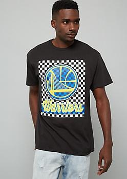NBA Golden State Warriors Black Checkered Print Graphic Tee