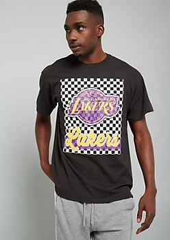 NBA Los Angeles Lakers Black Checkered Print Graphic Tee
