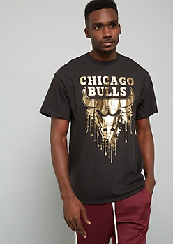 NBA Chicago Bulls Black Metallic Drip Graphic Tee