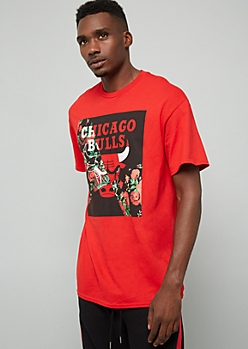NBA Chicago Bulls Red Split Floral Print Graphic Tee