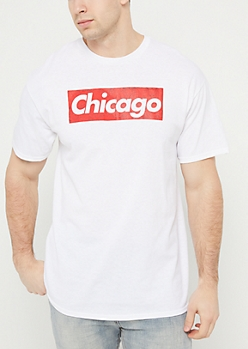 Chicago Bulls Logo Box White Tee