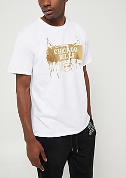 White & Gold Chicago Bulls Graphic Tee