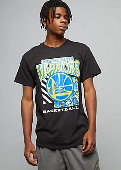 NBA Golden State Warriors Black Striped Floral Print Graphic Tee