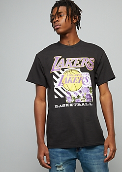 NBA Los Angeles Lakers Black Striped Floral Print Graphic Tee