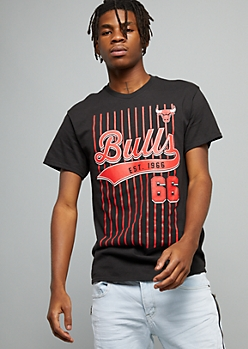 NBA Chicago Bulls Black Stitched 66 Striped Tee