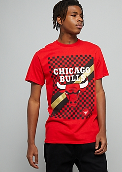NBA Chicago Bulls Red Metallic Checkered Print Graphic Tee