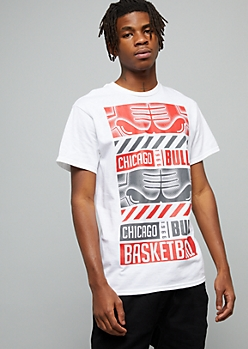 NBA Chicago Bulls White Block Graphic Tee