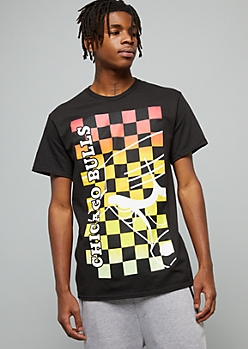 NBA Chicago Bulls Black Rainbow Checkered Print Graphic Tee
