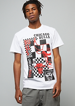 NBA Chicago Bulls White Checkered Print Crew Neck Tee