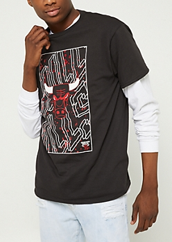 Black Splattered Chicago Bulls Tee
