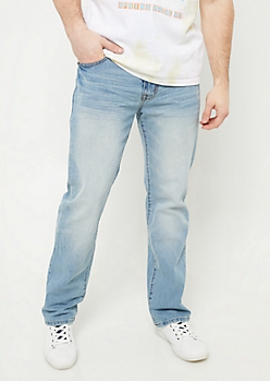 Flex Light Wash Relaxed Straight Leg Jeans