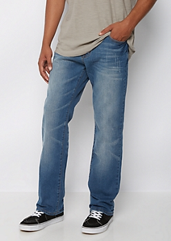 Flex Nicked & Washed Relaxed Straight Jeans