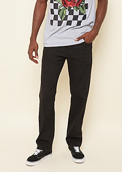 Flex Black Relaxed Straight Jeans