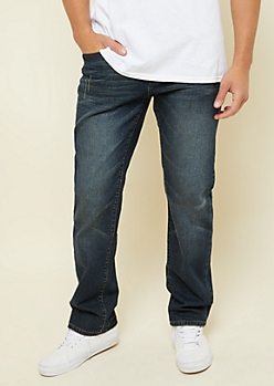 Freedom Flex Dark Vintage Nicked Relaxed Straight Jeans