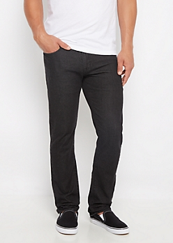 Freedom Flex Black Distressed Slim Straight Jean