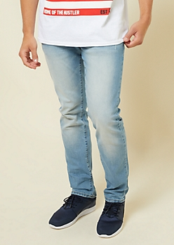 Freedom Flex Light Washed Slim Straight Jeans