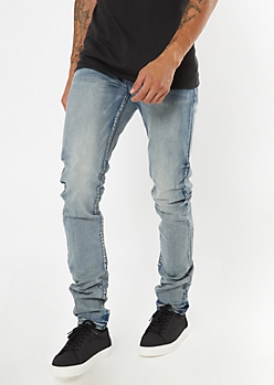 Medium Wash Stacked Skinny Jeans