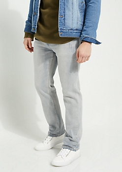 Flex Light Blue Sandblasted Relaxed Straight Cut Jeans