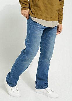 Flex Medium Blue Sandblasted Relaxed Straight Cut Jeans