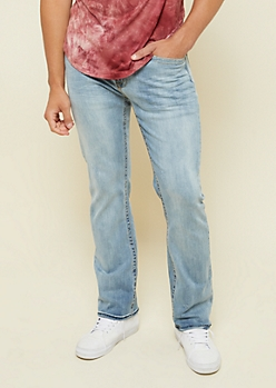 Light Wash Topstitched Boot Cut Jeans