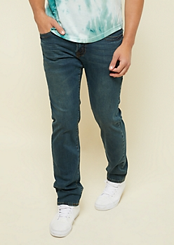 Dark Wash Topstitched Original Straight Jeans