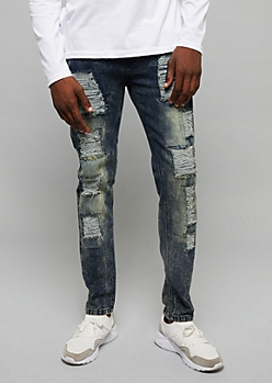 Flex Dark Acid Wash Patched Rips Skinny Jeans