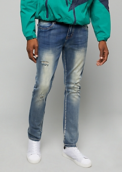 Flex Medium Wash Distressed Back Seam Skinny Jeans