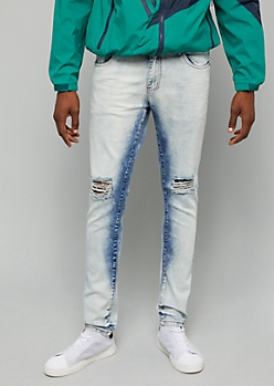Flex Light Icy Wash Ripped Knee Skinny Jeans