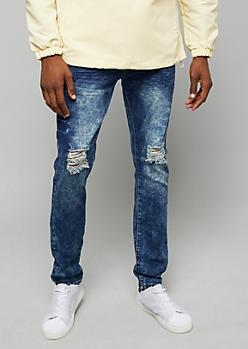 Flex Dark Acid Wash Ripped Knee Skinny Jeans