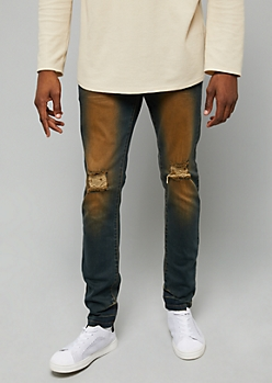 Flex Dark Wash Stained Ripped Knee Skinny Jeans