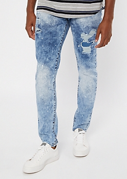 Supreme Flex Acid Wash Paint Patched Skinny Jeans