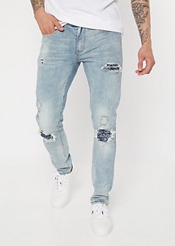 Supreme Flex Light Wash Bandana Moto Skinny Jeans
