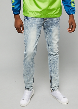 Flex Light Cloudy Wash Zip Ankle Skinny Jeans