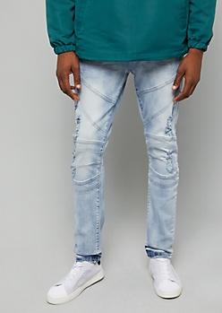 Flex Light Icy Wash Distressed Knee Seams Skinny Jeans