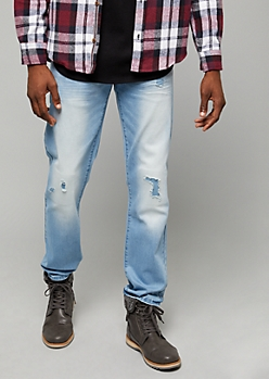 Flex Light Wash Small Patched Ripped Slim Straight Leg Jeans