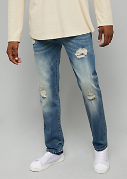 Flex Medium Wash Stitched Ripped Knee Slim Straight Leg Jeans