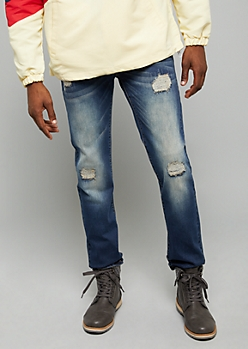 Flex Dark Wash Stitched Ripped Knee Slim Straight Leg Jeans