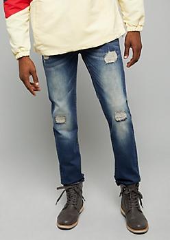 Flex Dark Wash Stitched Ripped Knee Slim Straight Leg Jeans