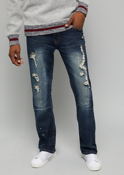 Flex Dark Wash Ripped Paint Splattered Bootcut Jeans