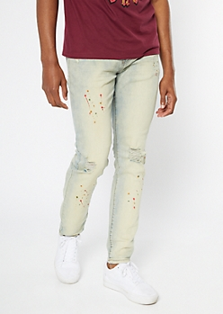 Supreme Flex Light Tinted Paint Splattered Skinny Jeans