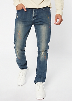 Supreme Flex Dark Wash Paint Splattered Skinny Jeans