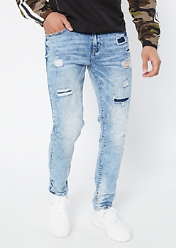 Supreme Flex Light Acid Wash Repaired Skinny Jeans