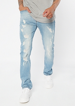 Supreme Flex Light Wash Ripped Knee Skinny Jeans