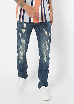 Supreme Flex Dark Wash Ripped Knee Skinny Jeans