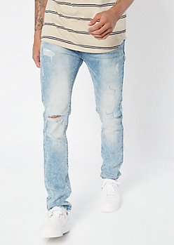 Supreme Flex Light Acid Wash Ripped Skinny Jeans