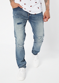 Supreme Flex Medium Wash Ripped Repaired Skinny Jeans